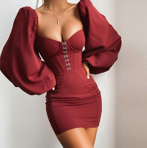 Sexy Fashion Long-Sleeved Solid Color Hip Dress