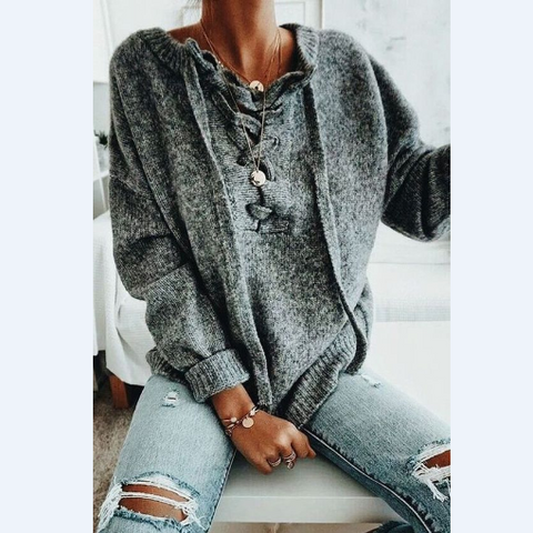 Solid Color Long Sleeve Casual Loose Sweater