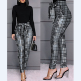 Plaid Casual Skinny Trousers