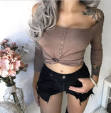 Women's Off Shoulder Solid Color Long Sleeve Top