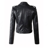 Long Sleeve Girls Faux Leather Jacket with Belt
