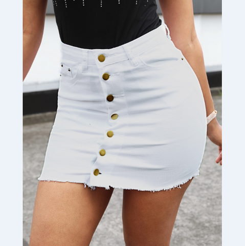 Solid Color Single Breasted Pockets Fashion High Waist Skirt
