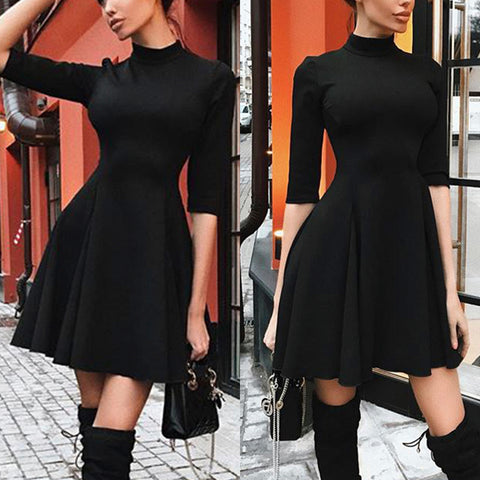 Solid Color Round Neck Slim Long Sleeve Dress
