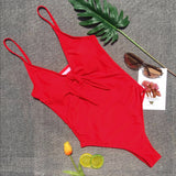 Bikini Solid Color Bow One Piece Swimsuit Lady Sexy Swimsuit Red