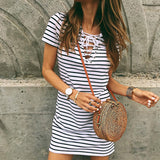 Women's Stripe Short Sleeve Dress