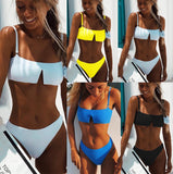 2018 Solid Color Bikini Split Swimsuit