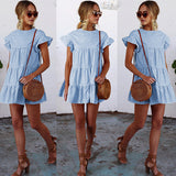2018 Sexy Round Neck Plaid Short Sleeve Dress