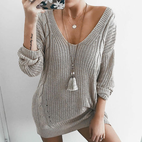 Women'S V-Neck Long-Sleeved Knit Grey Sweater