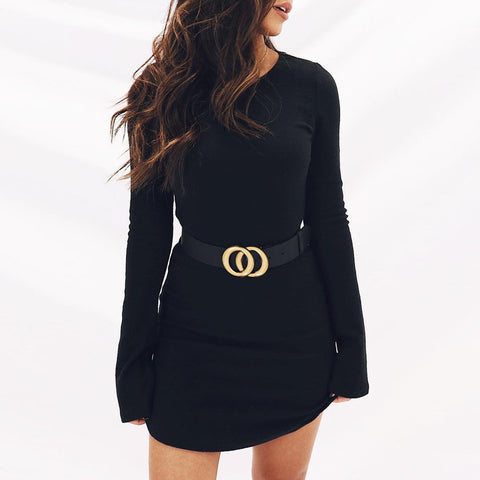 Women'S Solid Color Slim Long-Sleeved Dress