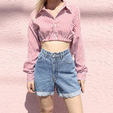 Women's Striped Slim Long Sleeve Shirt