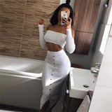 Women's Long Sleeve High Waist Two-piece Set Dress