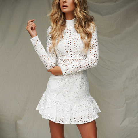 Long Sleeve Embroidered Ruffled White Dress