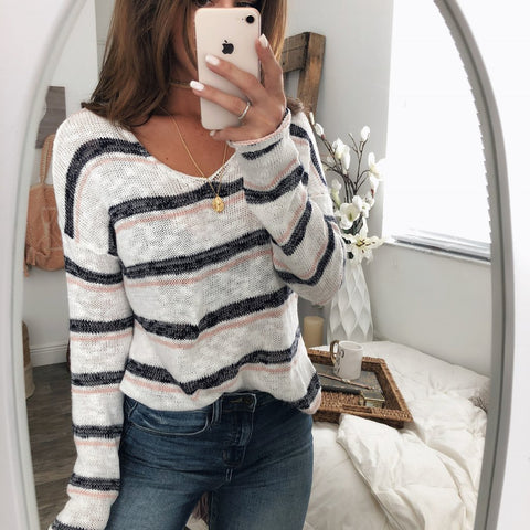 Casual Striped Knit V-neck Bat Sleeve Long Sleeve Sweater