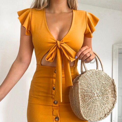 Solid Color V-Neck Bowknot Hip Dress