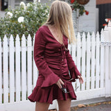 Long Sleeve V-Neck Ruffled Dress