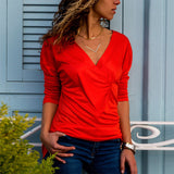 Solid Color V-Neck Long Sleeve Slim T-Shirt