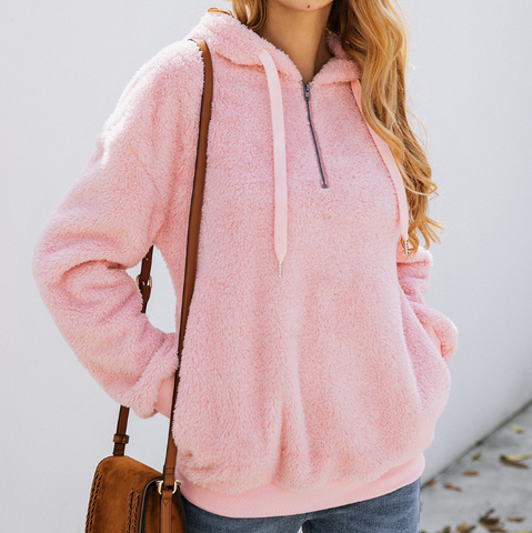 Fashion Zipper Pocket Hooded Sweater