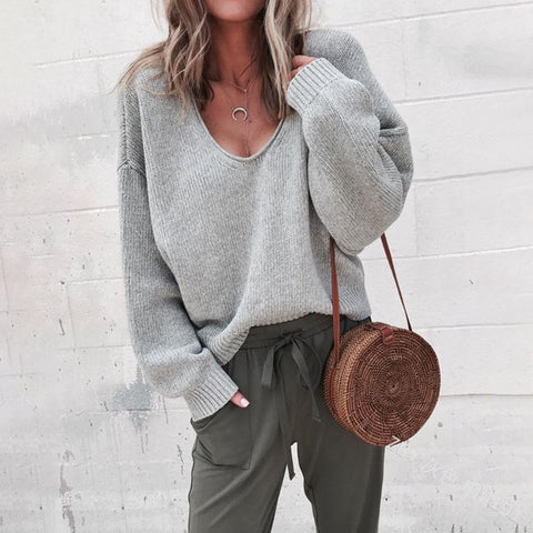 Solid Color Loose V-Neck Long-Sleeved Sweater