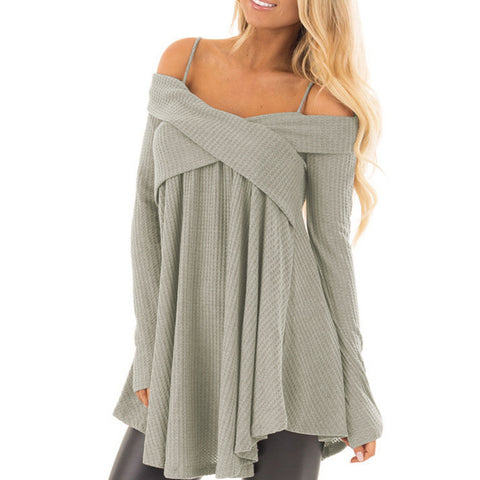 Long-Sleeved Solid Color Women'S Sling Knit Sweater