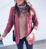 Loose Solid Color Long Sleeve Pocket Jacket
