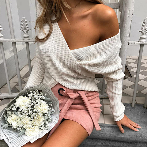 Fashion V-Neck Long-Sleeved Knit Top