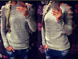 Round neck long-sleeved knit sweater