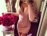 Long-sleeved V-neck zipper bag hip dress