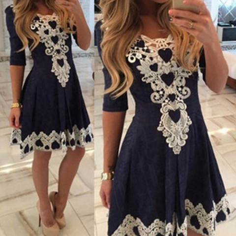 Sexy lace round neck high waist dress