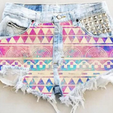 Design printing denim shorts