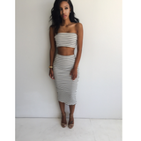 Design Striped two-piece dress