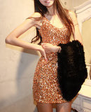Slim sequined V-neck sleeveless dress