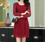 Fashion Long-Sleeved Embroidered Lace Dress