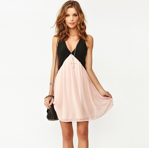 Sexy hit color hollow V-neck sleeveless chiffon dress