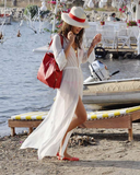 Irregular long-sleeved chiffon beach dress
