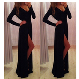 Black long-sleeved V-neck dress