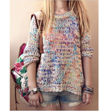 Rainbow Loose Knit Sweater