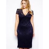 Sexy V-neck short-sleeved lace package hip dress