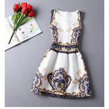 Fashion Jacquard Printed Sleeveless Dress