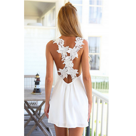 Lace Chiffon Halter Dress