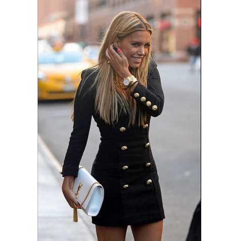 Fashion Black Long-Sleeved Dress