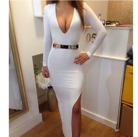 Sexy White Side Slit V Neck Dress