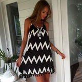 Fashion Striped Harness Dress