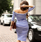 Sexy striped long-sleeved dress