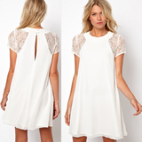 Sweet white chiffon short-sleeved dress