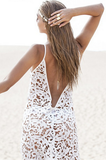 Sexy hollow white lace dress