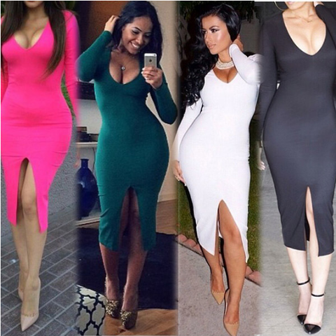 Sexy V-neck long-sleeved dress four colors