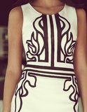 Women round neck sleeveless printed dress