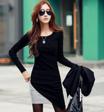 Slim round neck long-sleeved knit dress