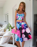 Sling Printed Sleeveless Two-Piece Dress