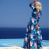 Round Neck Long-Sleeved Printed Chiffon Beach Dress
